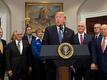 US President Donald Trump speaks during a signing ceremony for Space Policy Directive 1, with the aim of returning Americans to the Moon