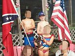 Ugly truth: The photo seen above showing the Confederate flag was taken from Kimberly Jones' now-defunct Facebook page. Her son Keaton became a viral sensation over the weekend after speaking out about being bullied