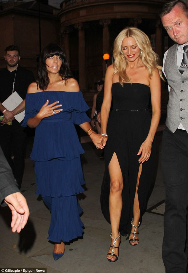 Best of friends: The pair held hands as they left the event
