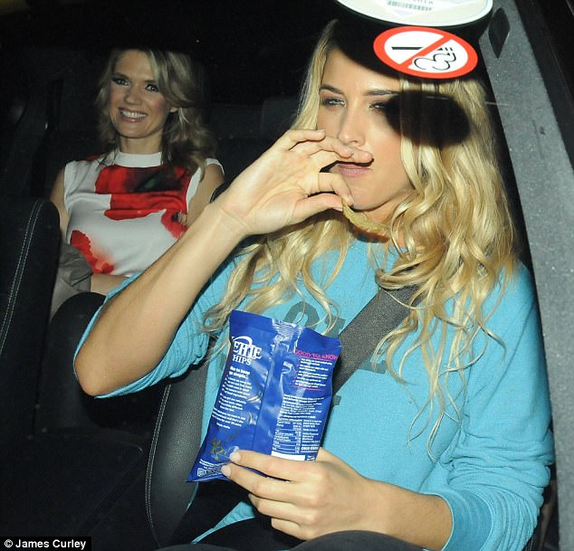 Yummy: Gemma happily satisfied her hunger craving after working up a sweat dancing the night away