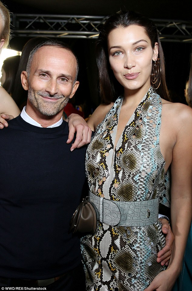 Happy:Bella was no doubt feeling euphoric after sharing the stage with original 90s supermodels Claudia Schiffer, 47, Naomi Campbell, 47, Helen Christensen, 48, Carla Bruni, 49, and Cindy Crawford, 51, for the Versace SS18 show