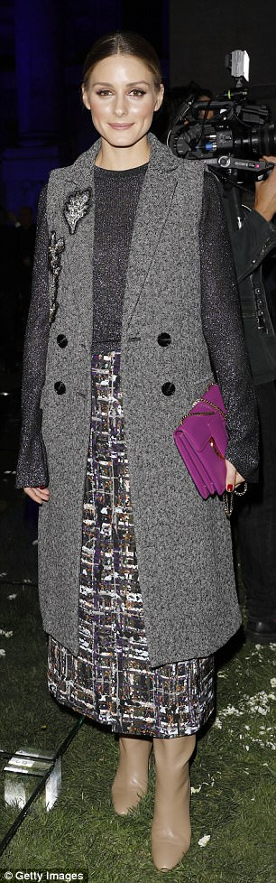 Chic:Olivia Palermo, 31, was also in attendance, and looked incredibly stylish in a tweed maxi skirt and grey jumper