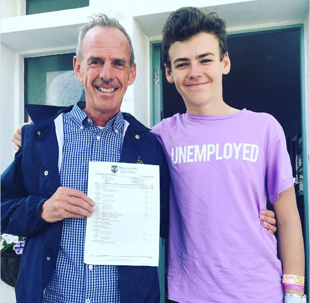 Proud parents: The couple were seen this week overcome with emotion as eldest son Woody collected his GCSE exam results outside school and reportedly went for a family meal after