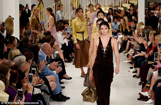 Leading the pack: As one of the world's most esteemed models, it was clear to see why she was at the front of the show