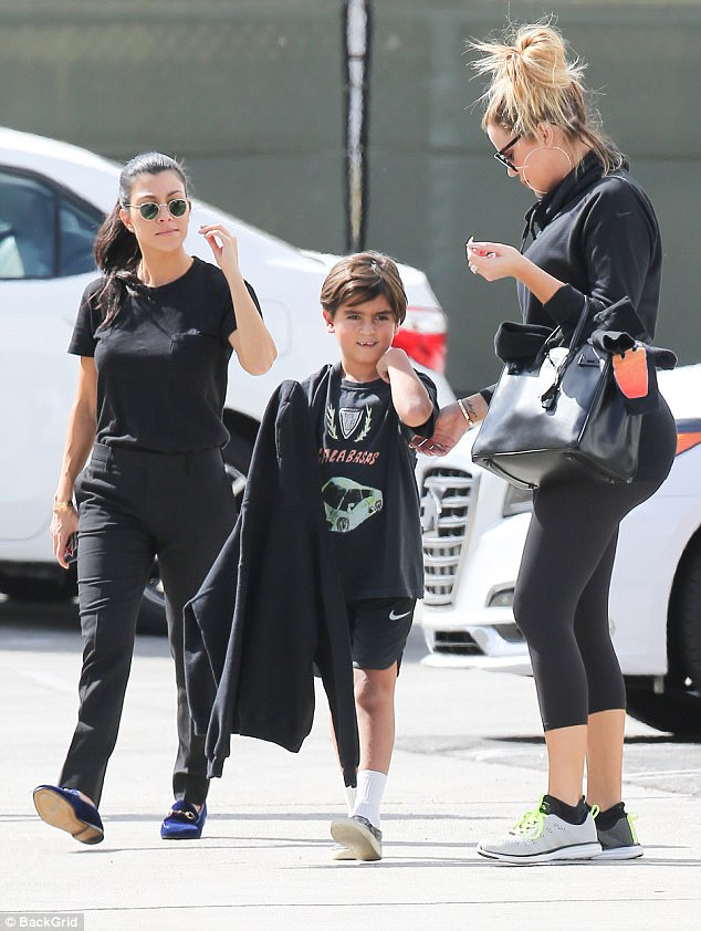 Sibling bonding: Kourtney, 38, and Khloe Kardashian, 33, were spotted out with kids at Glowzone in Los Angeles on Friday, moments after news broke of Kylie Jenner's pregnancy
