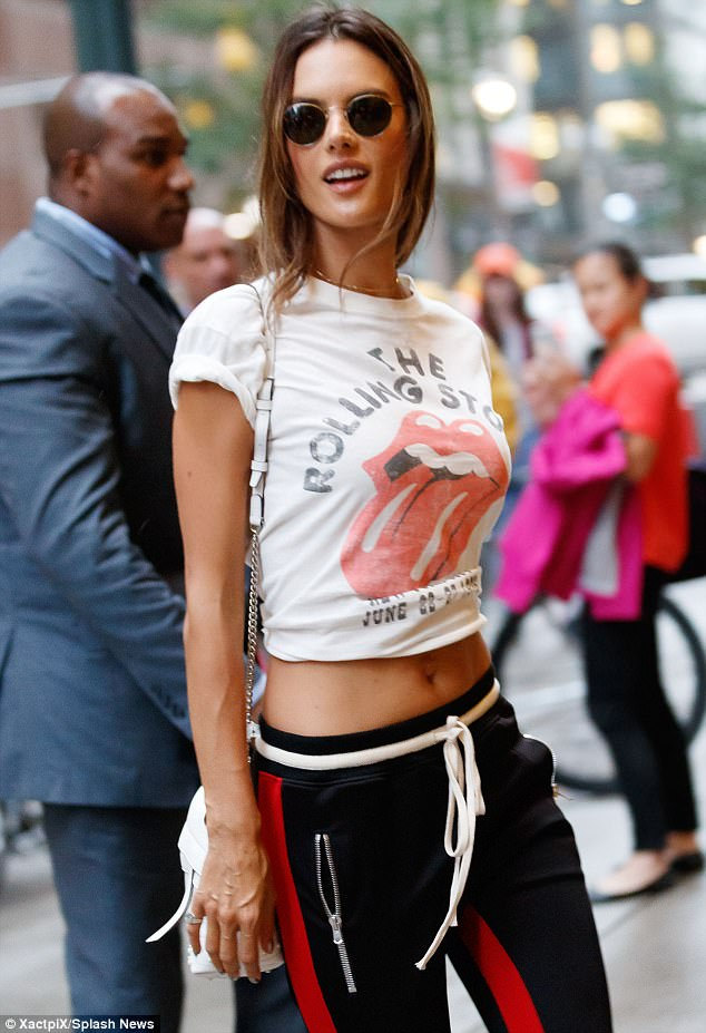 Ruby Tuesday:Alessandra Ambrosio wore a Rolling Stones T-shirt to a Victoria's Secret fitting in New York on Tuesday