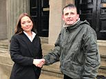 Homeless John McGeown (right) stood in the pouring rain for two-and-a-half hours to make sure Alyshia Orford's bag containing £450 was not stolen