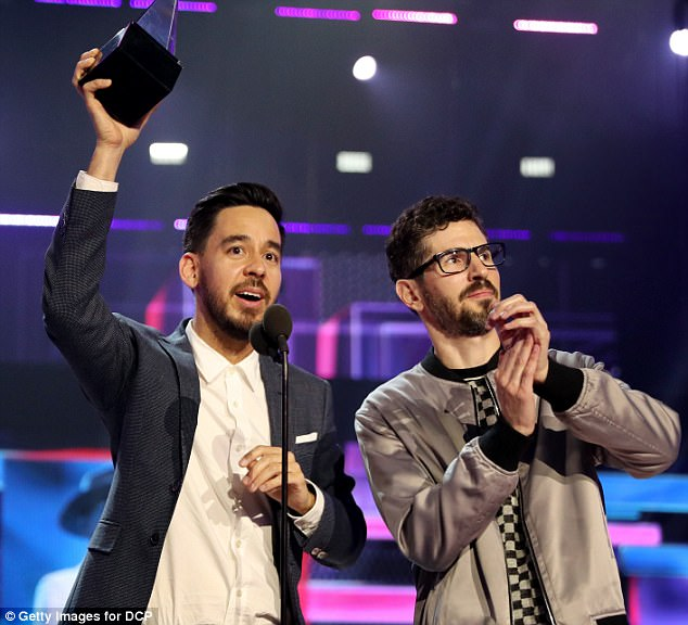 Thankful: And as they accepted they award, Shinoda said: 'We want to dedicate this award to Chester, to his memory, to his talent, to his sense of humor, to his joy.'