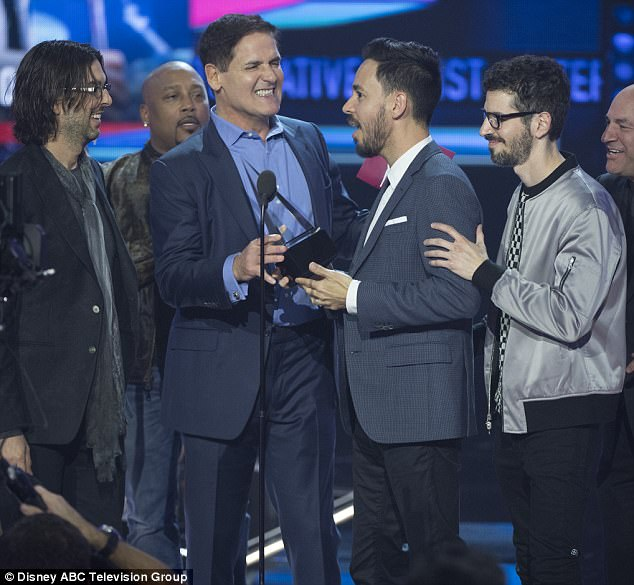 Surprise: Linkin Park even surprised the audience at the annual event as Mark Cuban - who announced the category winner - believed the band to be absent