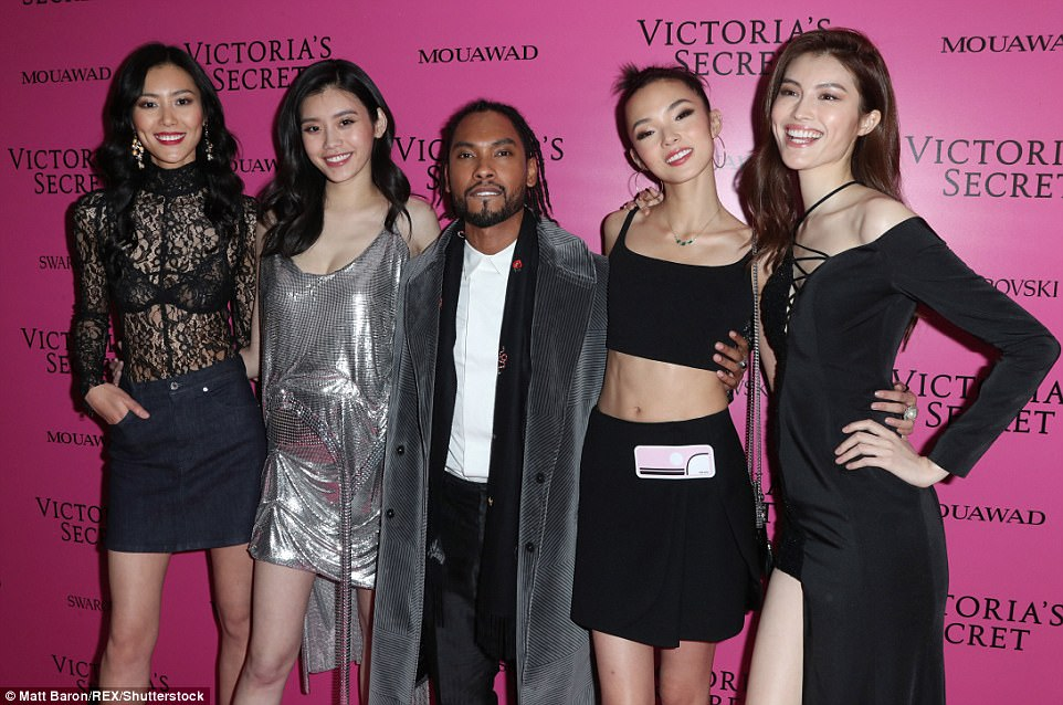 Talented quintet: Miguel, who performed at the show, joined the stunning group for a fun photo