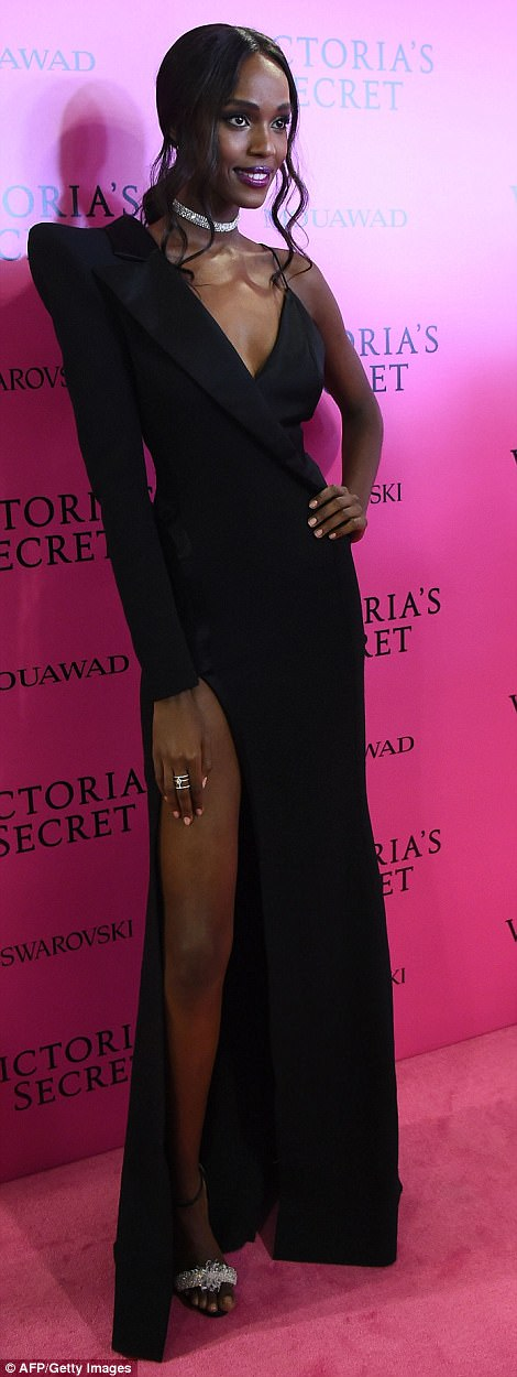 Wow: Leila Nda oozed glamour in a structured black dress with a soaring thigh-high split