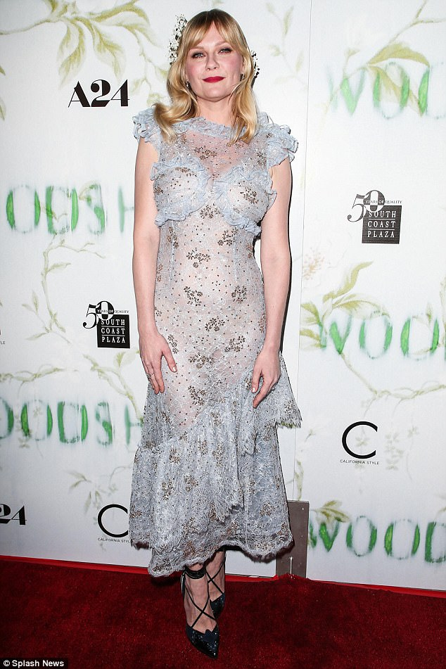 Floral fancy: Kirsten Dunst, 35, reveals that her future wedding dress is currently being made by her Rodarte designer friends, Laura, 37, and Kate Mulleavy, 38
