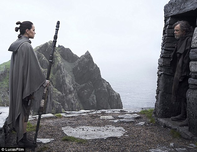 Coming out to play? Daisy Ridley's Rey will be seeking training from Mark Hamill's Luke