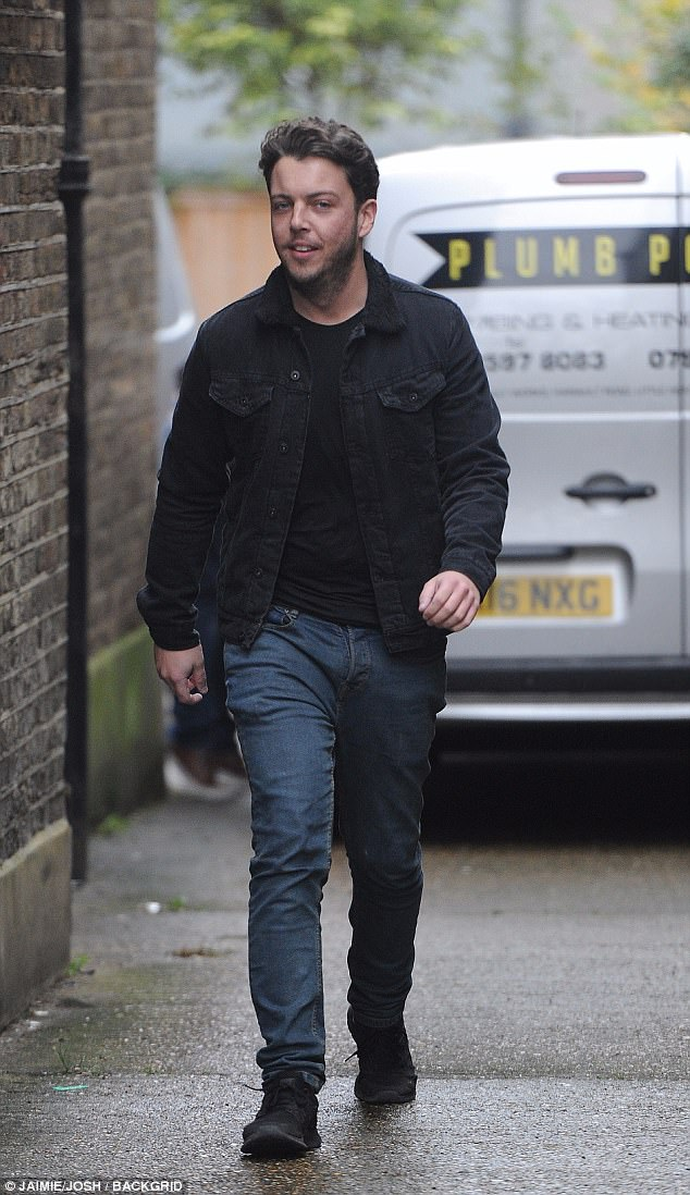 Laidback: Diags was dressed in double denim, looking casual on the outing