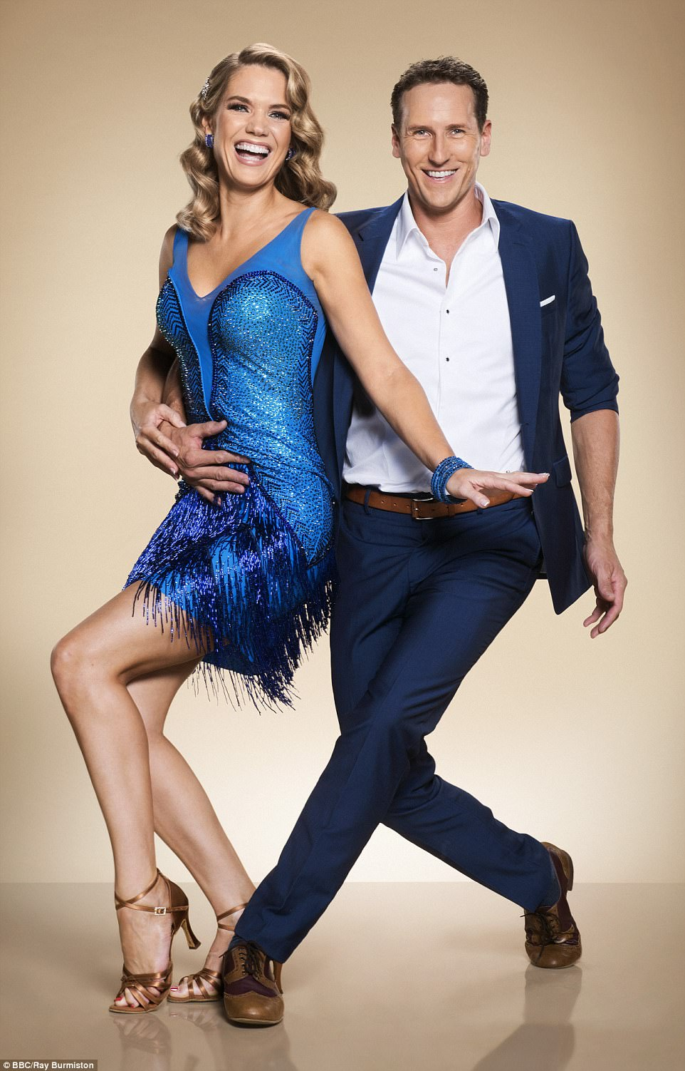 Off we go!Meanwhile Good Morning Britain's Charlotte Hawkins channeled her inner 1920s flapper girl in a fringed blue dress and glamorous tight curls, as she struck a pose from the Charleston with partner Brendan Cole