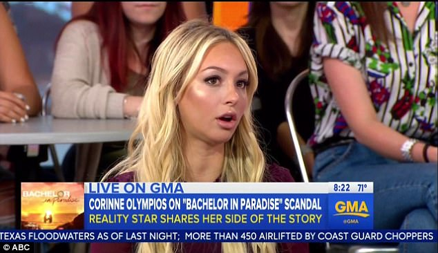 Her turn to talk: Corinne Olympios has broken her silence about the Bachelor In Paradise scandal from June that allegedly involved her having oral sex with fellow contestant DeMario Jackson
