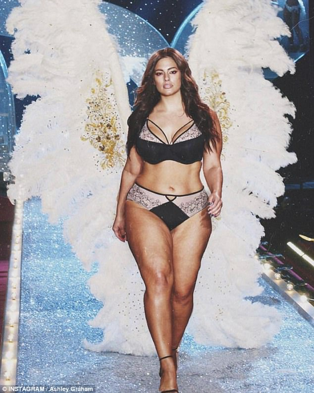 Making a point: Ashley Graham took to Instagram on the day the annual VS Fashion Show was set to take place in Shanghai with an image of herself walking down the runway in lingerie and a pair of elaborate white angel wings on Sunday