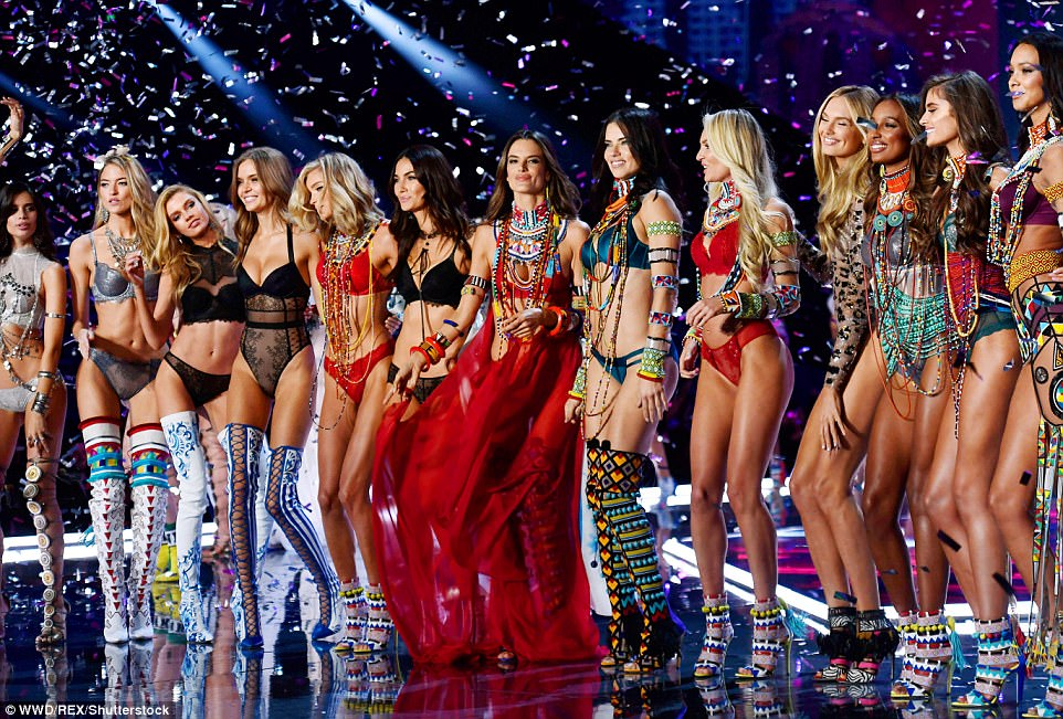 Model moment: The glamorous girls turned heads as they descended on the runway together (Pictured L-R: Sara Sampaio, Martha Hunt, Stella Maxwell, Josephine Skriver, Elsa Hosk, Lily Aldridge, Alessandra Ambrosio, Adriana Lima, Candice Swanepoel, Romee Strijd, Jasmine Tookes, Taylor Hill and Lais Ribeiro)