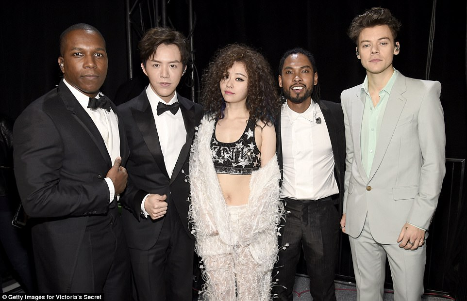 Singing sensations: (L-R) Performers Leslie Odom Jr., Li Yundi, Jane Zhang, Miguel and Harry Styles posed backstage