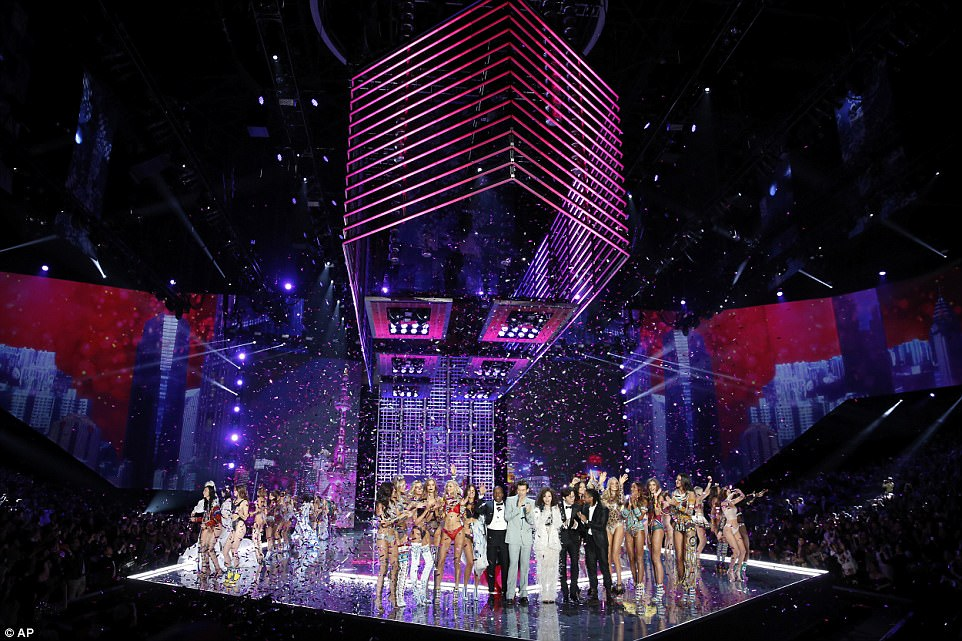 Hitting the right notes: Musical acts Harry Styles, Miguel, Hamilton's Leslie Odom Jr., and Chinese sensation Jane Zhang stood alongside the VS Angels