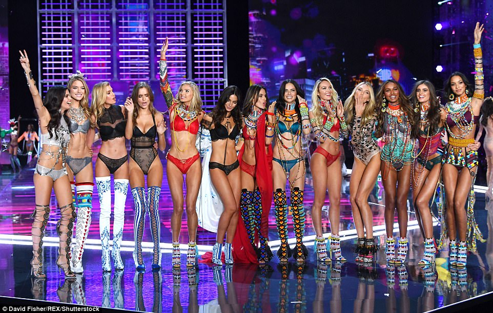 Heavenly: The VS Angels gathered together to pose at the end of the catwalk