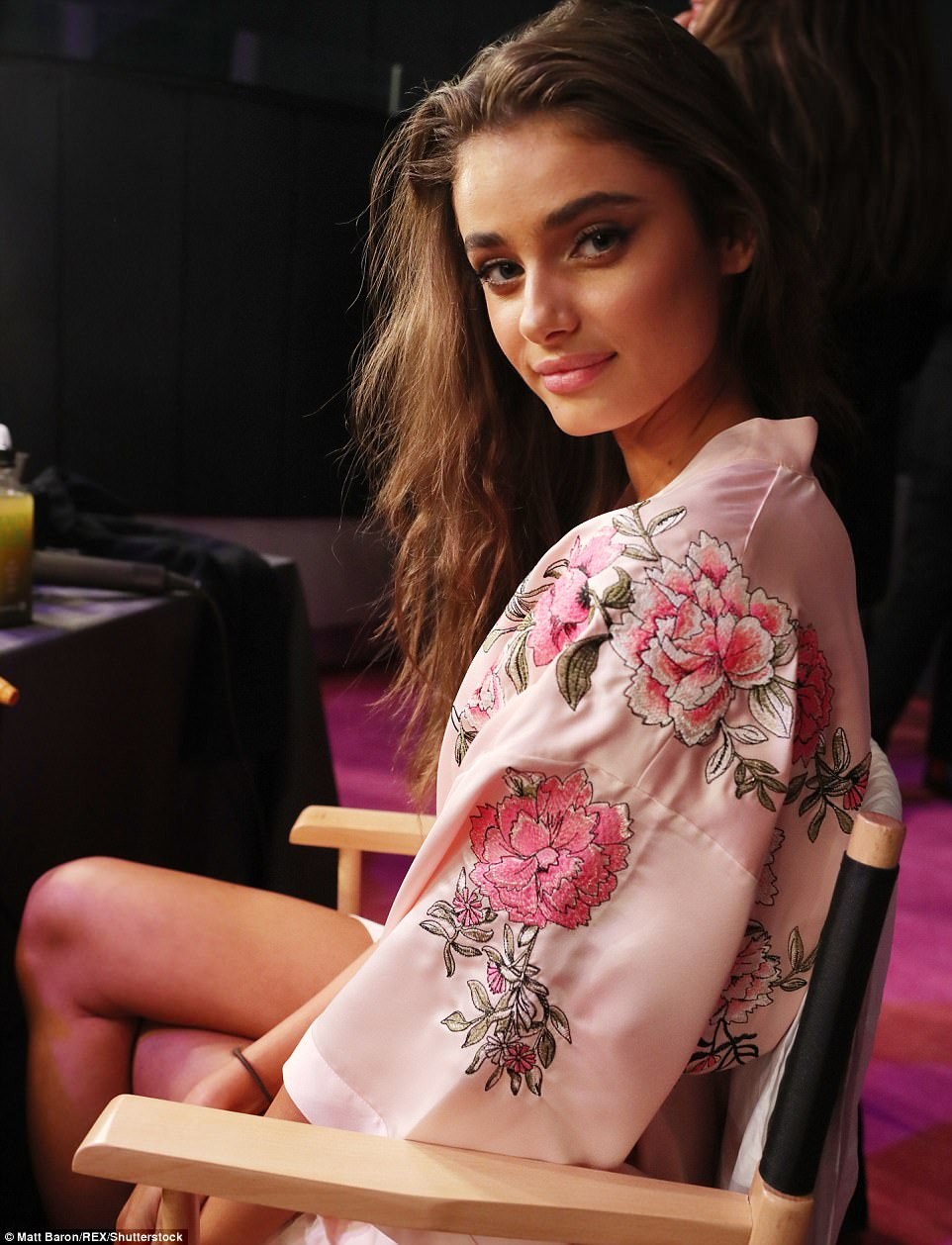 What a babe! Angel Taylor Hill was also spotted backstage at the show