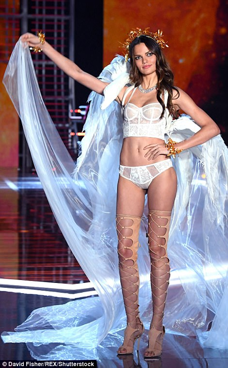 Bridal style: Brazilian beauty Barbara Fialho donned a bridal inspired demi-corset and matching underwear