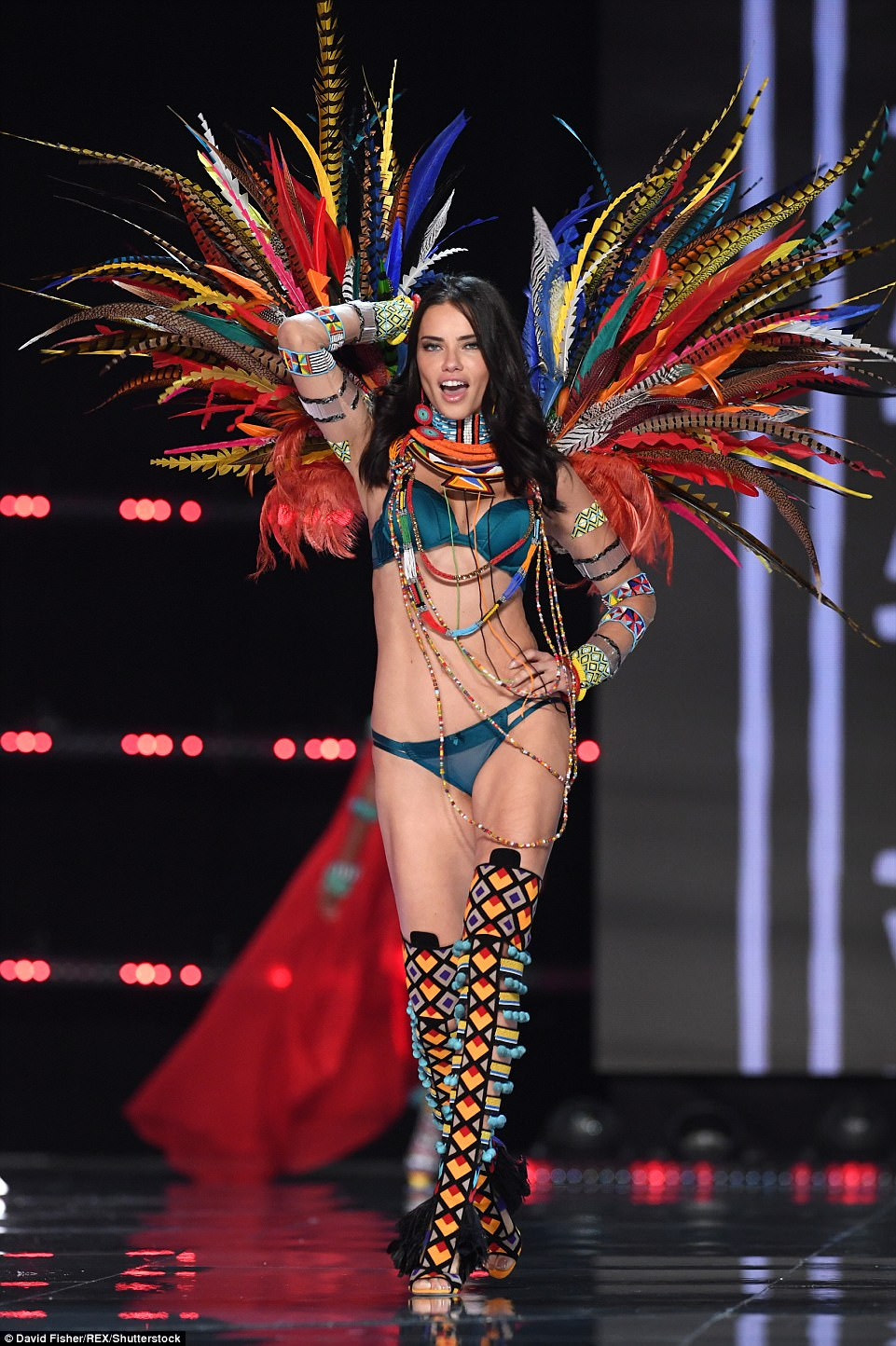 Glam: Also turning heads on the runway was Adriana Lima - a veteran Angel having walked the runway since 1999 and being not only their longest-running model, but named 'the most valuable Victoria's Secret Angel' earlier this year