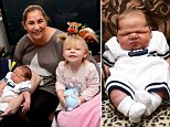 The Young-Wilcock family are pictured with their new-born Brodey who was born on Tuesday weighing 12lb and 13oz