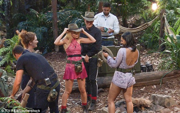 Jungle style: As the first six celebrities arrived in camp, they donned their camp gear for the first time