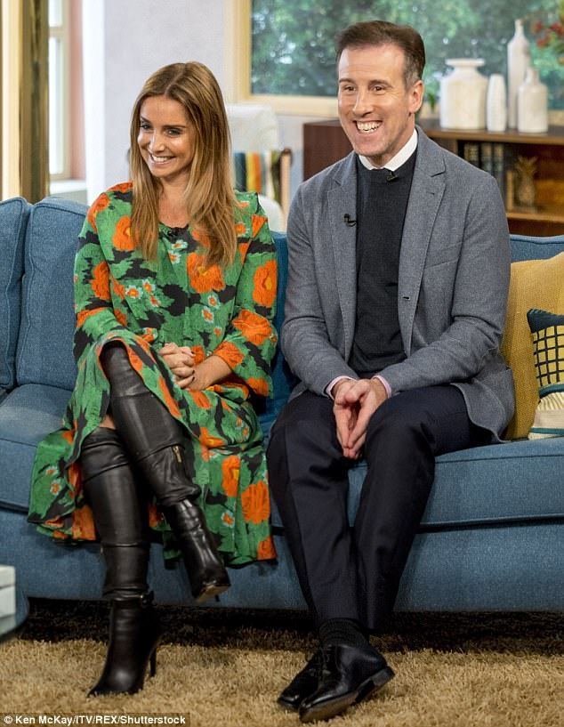 Good spirits; Louise looked delighted to be reunited with Anton on the sofa