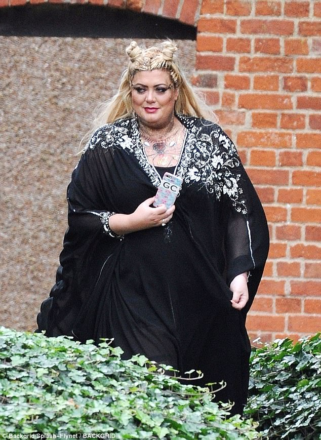 Touch of sparkle: Gemma donned a glitzy kaftan style ensemble with jewel embellishment on her shoulders