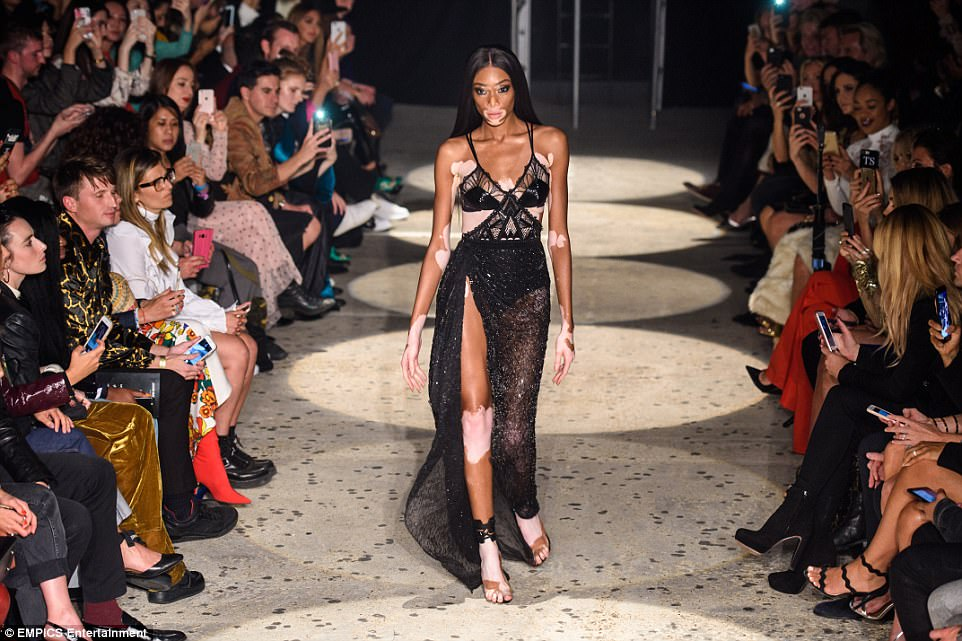 Leader of the pack: Winnie Harlow lead the way for a star-studded runway on Monday night, at theJulien Macdonald show during London Fashion Week