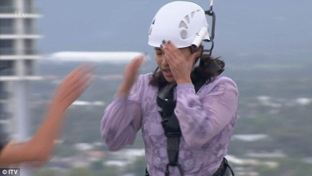 Panic stations: However things only worsened for Vanessa when she froze at the end of the plank, crying through tears: 'I can't move! I can't get back!'