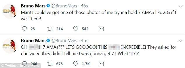 Elated: Mars took to Twitter to express his shock over his dominance at the ceremony
