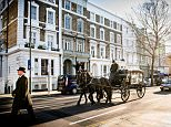 The funeral procession in west London of Christine Keeler travels through west London yesterday morning