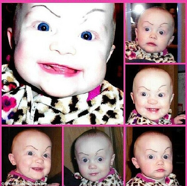Some parents have worked out one set of brows can create quite a few different looks