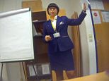 Ryanair cabin crew instructor Dorota Sowinska (pictured) was training new recruits at one of the centres