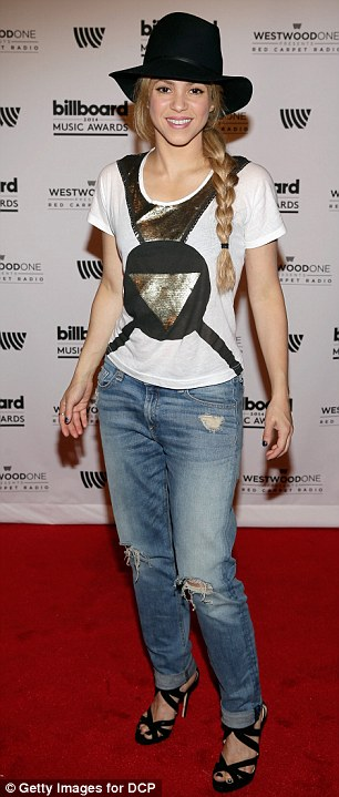 Ramping up: Shakira wore ripped jeans while Jordin Sparks flaunted her long legs in shorts at a pre-Billboard Music Awards gifting suite in Las Vegas on Saturday