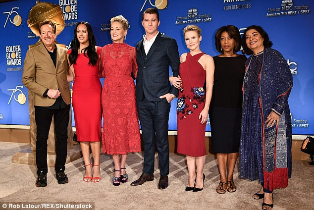 Pals:Later the four announcers were seen with The Rock's daughter Simone Garcia Johnson, who will be Miss Golden Globe. And they also posed with Meher Tatna, the president of The Hollywood Foreign Press Association