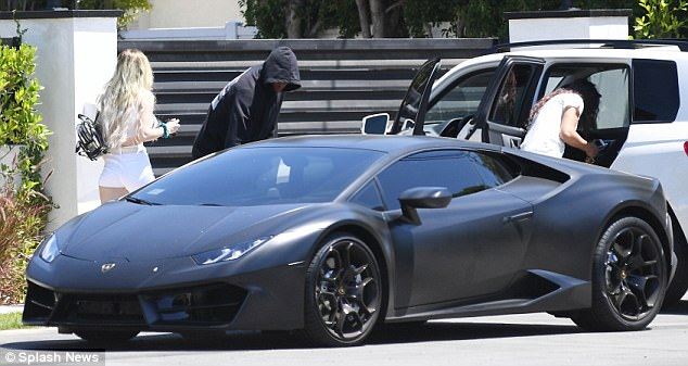 Wow: Jordan arrived to Bella's home in his luxurious Lamborghini on Thursday morning