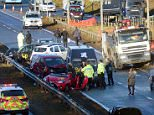 Emergency services attend the scene near Dalton Park in County Durham following a collision involving 12 vehicles