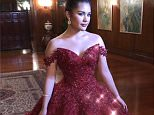 Pictures show 17-year-old Isabelle Lovelie Duterte (pictured), the daughter of the President's first son Paulo, posing in a sparkling red ballgown at the presidential palace in the capital, Manila