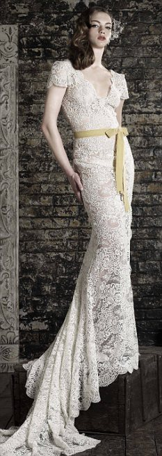 Smart money: A wedding dress by Bruce Oldfield, who is favourite to design Kate Middleton's wedding dress