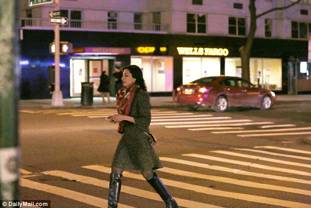 Abedindined out at Il Cantinori on 10th Street with two male friends on Friday night. She is pictured walking home