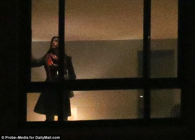 At the end of the night out Abedin went inside her apartment and shut the blinds to get some sleep