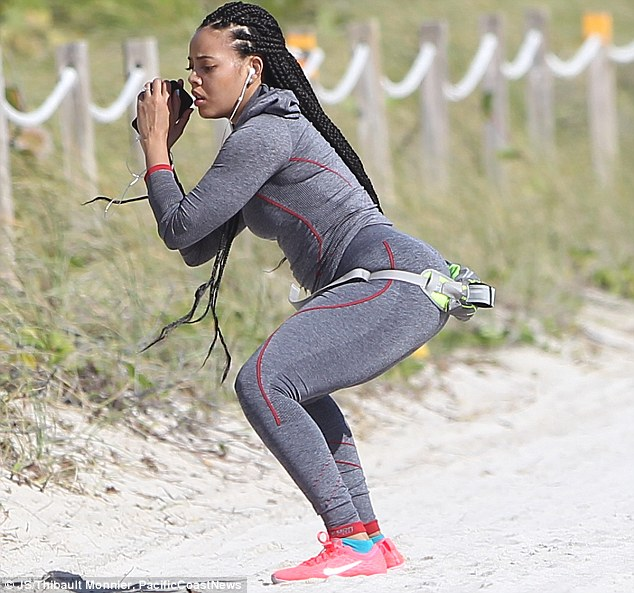 Time for squats: The star is focused on shedding her baby weight, less than four months after giving birth to son Sutton Joseph