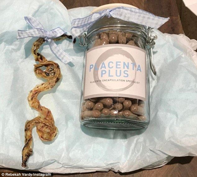 Motherhood: Rebekah Vardy, 34, revealed she eats her own placenta as she shared a picture of a bottle of placenta pills, alongside her dried-up organ on Instagram on Thursday