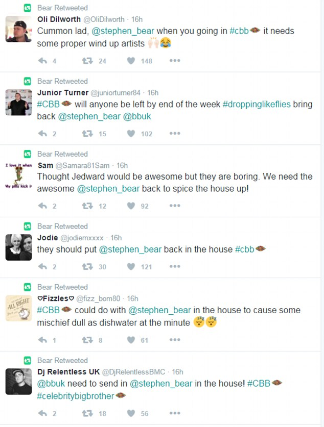 Social media frenzy: Bear sent the rumour mill into overdrive when he retweeted a host of messages from fans