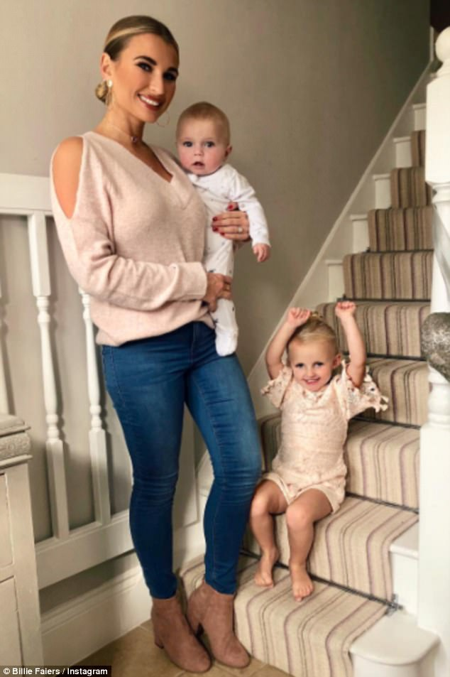 Lavishing affection:The couple share their three-year-old daughter Nelly Samantha Shepherd and newborn Arthur